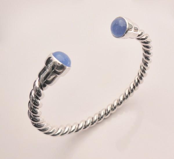 Silberarmreif Kordelo blue